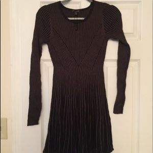 Express Ribbed Sweater Skater Dress